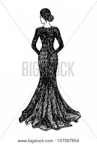 Back view of a woman in evening dress