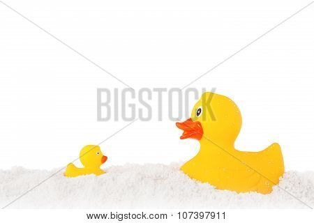 Yellow Duck And Ducky Family And Powder Isolated On White