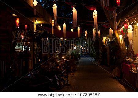 Nighttime atmosphere on street