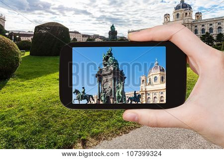 Snapshot Of Empress Maria Theresa Statue In Vienna