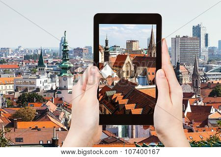 Snapshot Of Old Town Bratislava City On Tablet