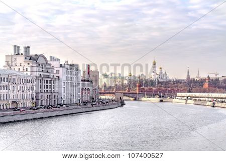 Moscow. View Of The River And The Raushskaya Embankment