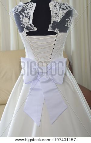 Wedding Dress With  White Bow