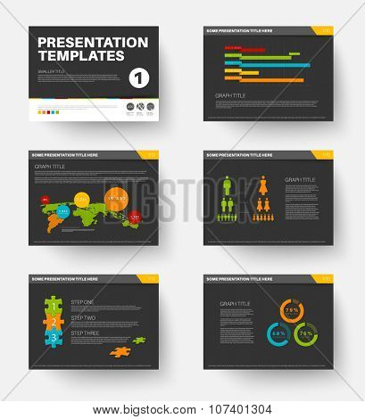 Minimalistic flat design Vector Template for presentation slides part 1, dark version