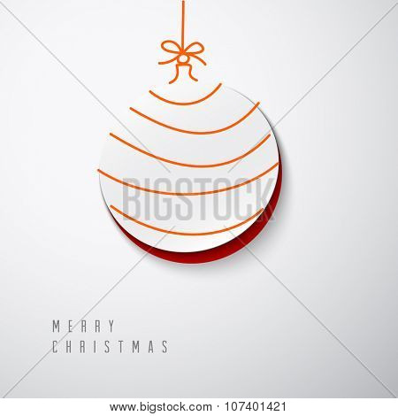 Vector Merry Christmas card with a white minimalistic decoration cut out of the paper