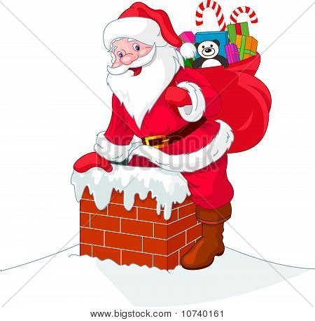 Santa Claus Descends The Chimney