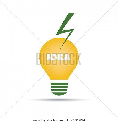 Idea Concept Design - Bulb Icon With Orange Glass And Lightning Bolt