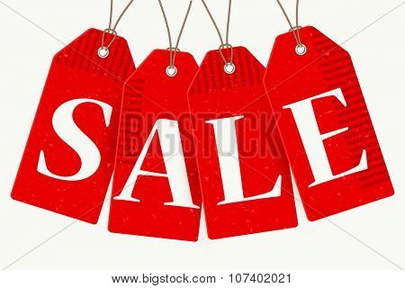 Christmas red sale paper tags, vector illustration