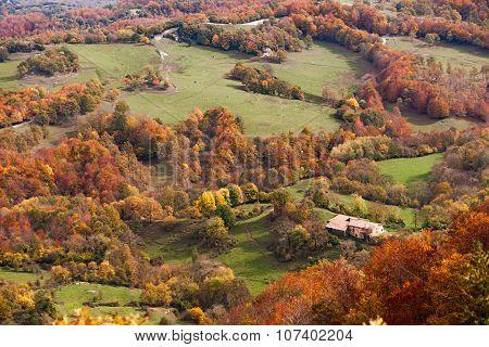 Beautiful Autumn Landscape In La Garrotxa, Catalonia