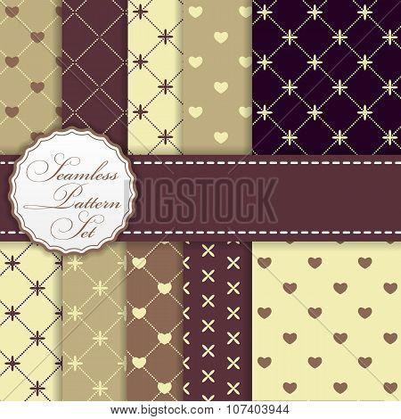 Set of Romantic Seamless Pattern Backgrounds Vector Illustration