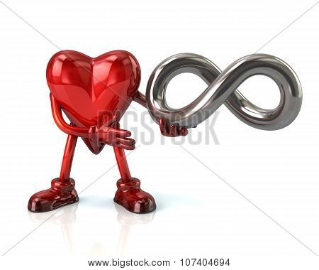 Cartoon Heart Character And Infinity Symbol