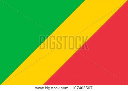 National Flag Of Republic Of The Congo In Official Colors And Proportions