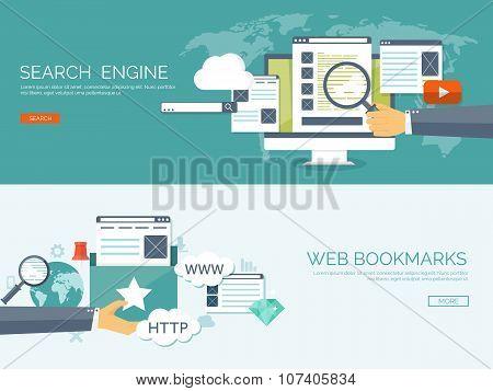 Vector illustration. Coding, programming. Web search, SEO. Development. Cloud technology. Spamming a