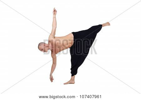Yoga. Image of middle-aged man performs asana