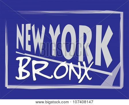 New York Bronx Blue Abstract