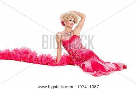 Drag Queen In Pink Evening Dress Lying On Floor