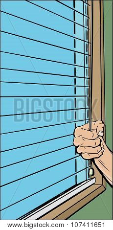 Person Opening Blinds