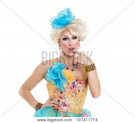 Drag Queen In Yellow-blue Dress Performing
