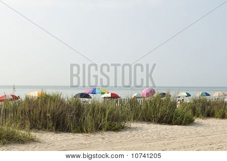 Colorful Beach Umbrellas At Myrtle Beach