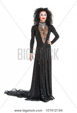 Drag Queen In Black Evening Dress Performing