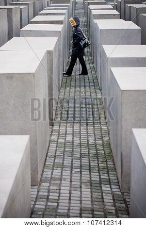 Berlin, Germany - December 30 2006. Memorial Jews Monument