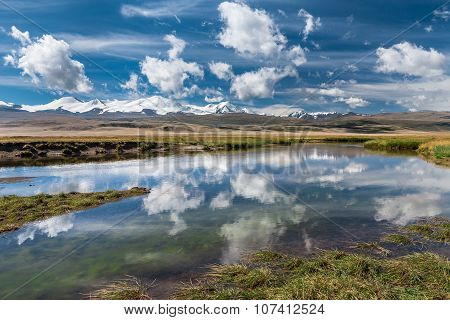 Beautiful Landscape With Snowy Mountains, River  And Blue Sky