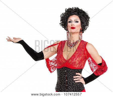 Drag Queen In Red Evening Dress Performing