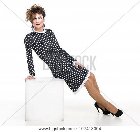 Drag Queen In Black-white Dress Performing