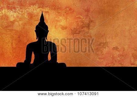 Buddha - meditation silhouette - Thailand background