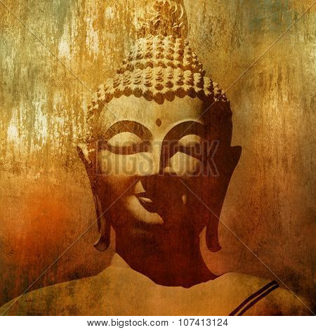 Buddha head in grunge style