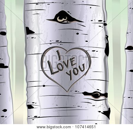 Birch tree card with heart and carved text i love you