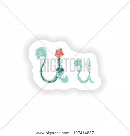 stiker Abstract letter U logo icon  in Blue tropical style