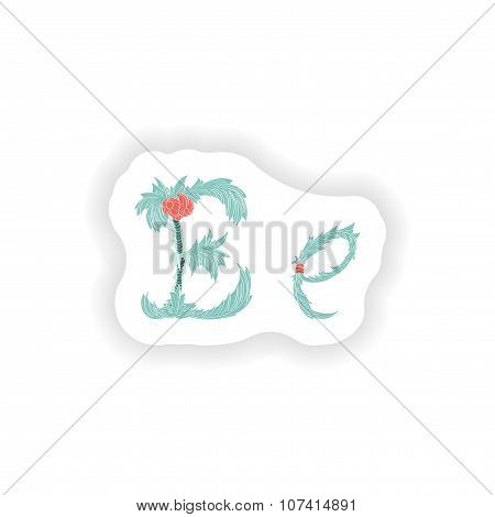 stiker Abstract letter E logo icon  in Blue tropical style