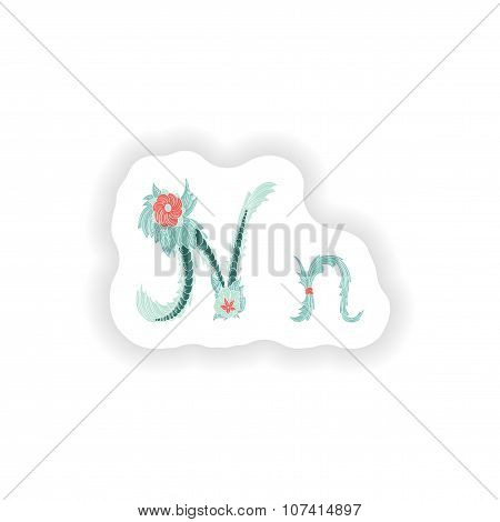 stiker Abstract letter N logo icon  in Blue tropical style