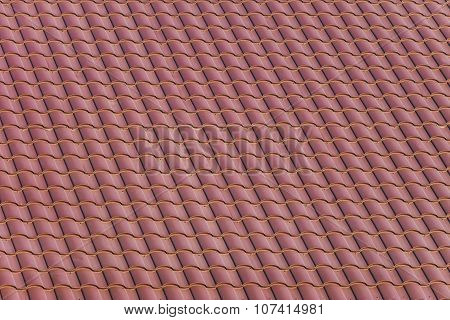 Red roofing from metal plate