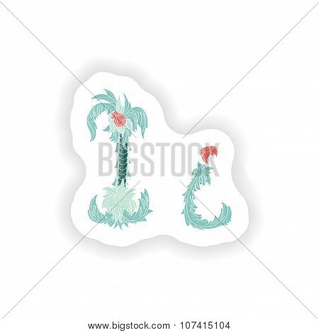 stiker Abstract letter I logo icon  in Blue tropical style