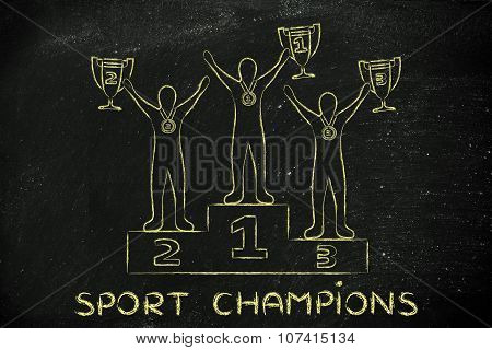 Athletes With Trophies And Medals With Text Sport Champions