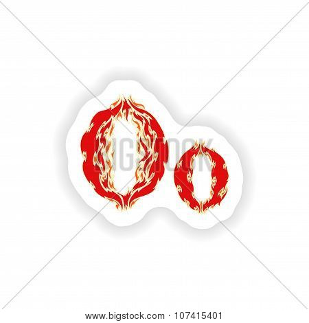 sticker fiery font red letter O on white background
