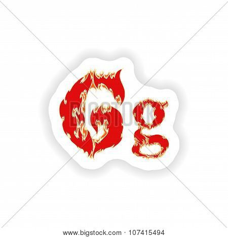 sticker fiery font red letter G on white background