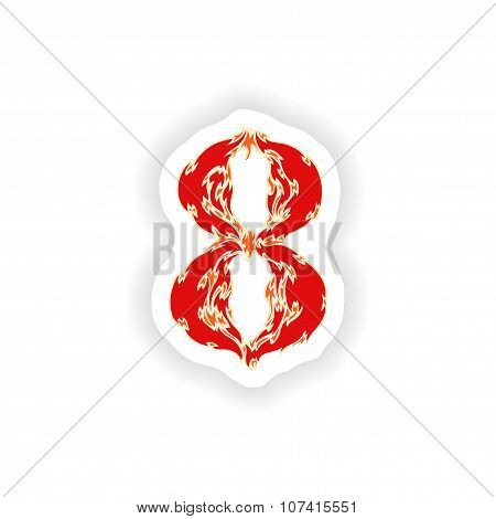 sticker fiery font red number 8 on white background