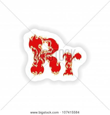 sticker fiery font red letter R on white background