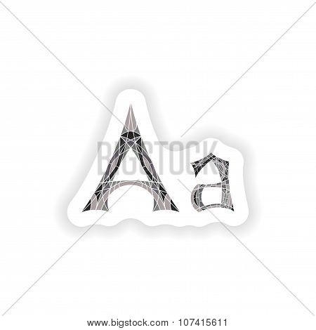 stiker Low poly letter A in gray mosaic polygon
