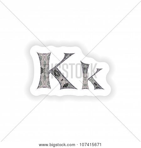 sticker Low poly letter K in gray mosaic polygon