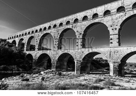Pont Du Gard, Ancient Roman's Bridge In Provence, France