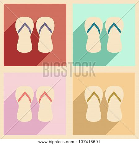 Flat with shadow concept and mobile application beach slippers