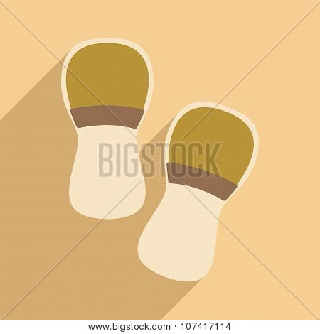 Flat with shadow icon and mobile application slippers