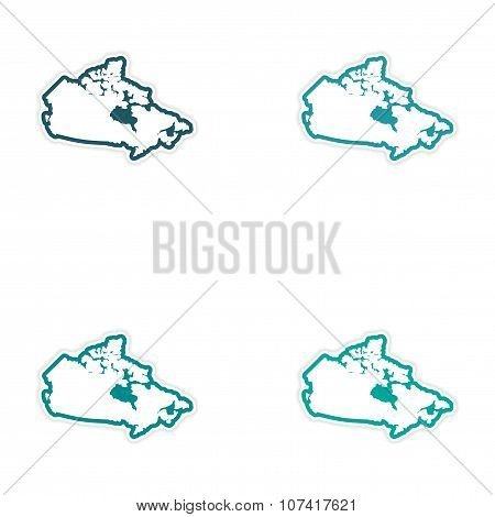 Set of stickers Canadian map on white background