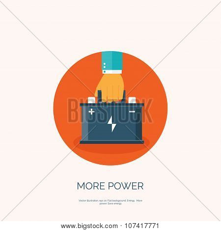 Flat web icon. Battery, accumulator. Vector illustration.