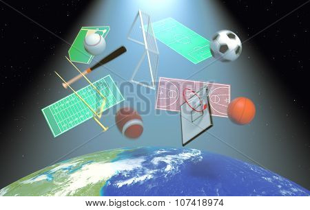 Concept Of Sport Broadcast Worldwide- Elements Of This Image Furnished By Nasa