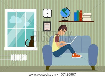 person at the computer in a house situation an illustration